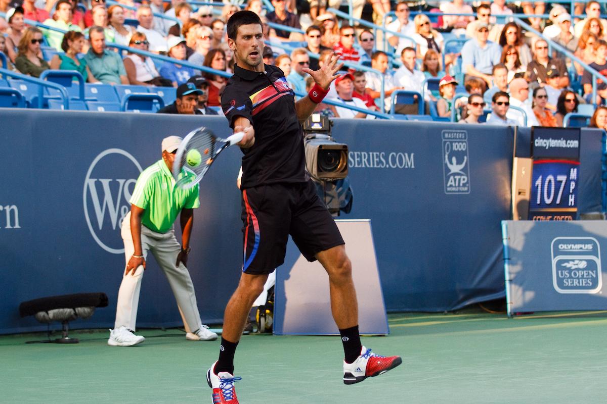 Novak Djokovic tennis forehand contact point