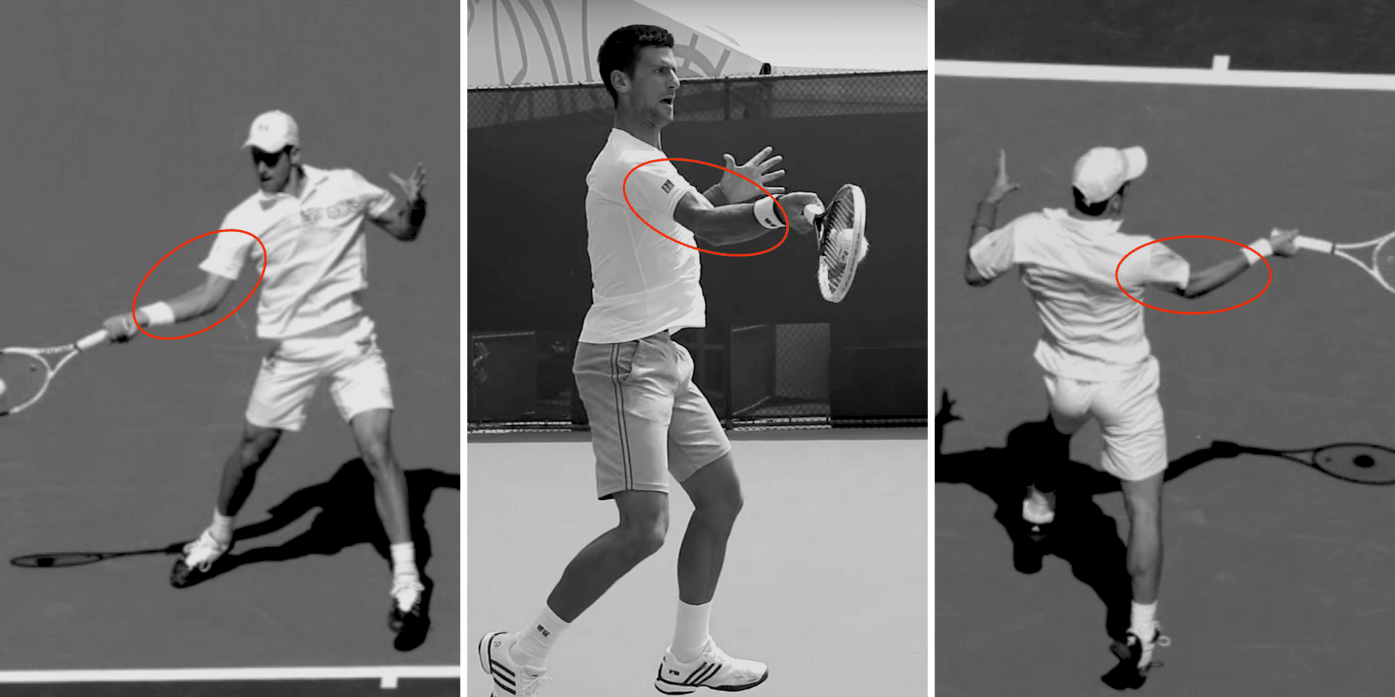 novak djokovic bent arm forehand tennis